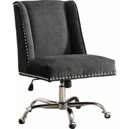 Linon Draper Office Chair Udder Madness Milk - Walnut Wood Base, Charcoal