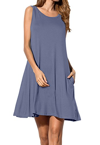AUSELILY Women's Sleeveless Pockets Casual Swing T-shirt Dresses (S, Purple Gray)