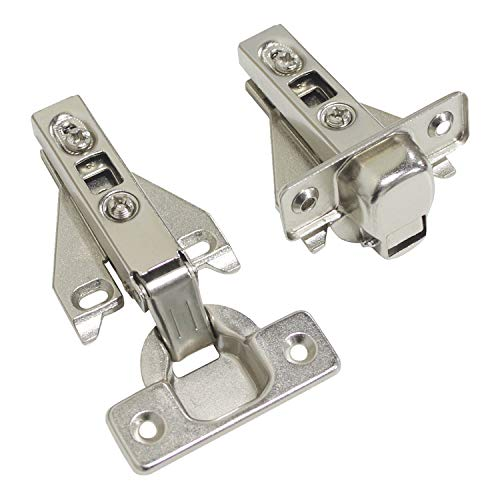 Classic Self Closing Face - 105 Degree Frameless Concealed Kitchen Cabinet Door Hinges Full Overlay Soft Closing Satin Nickel Furniture Hinges, 4 Pair(8pcs)