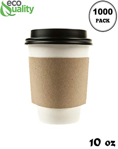 1000 Pack - 10 oz Disposable White Paper Coffee Cups with Black Dome Lids and Protective Corrugated Cup Sleeves - Perfect Disposable Travel Mug for Home, Office, Coffee Shop, Travel, Tea
