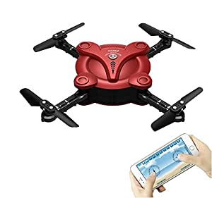 Hobbylane Altitude Hold Folding Drone with FPV Camera Live Video, Flexible Foldable Aerofoils Quadcopter with Mobile Phone App Wifi Control, Gravity Sensor RTF Helicopter Toys for Adults (Red)