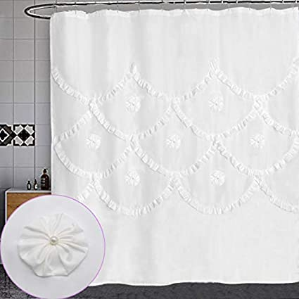 Dosly Home White Ruffle Pintuck Fabric Pearl FlowerFloral Shower Curtain For BathroomFarmhouse Rustic