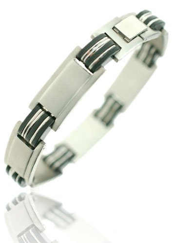 Mens Stainless Steel Bangle Bracelet with Alternating Links Of Black Rubber and Brushed Steel - Silver, Janeo Jewellery