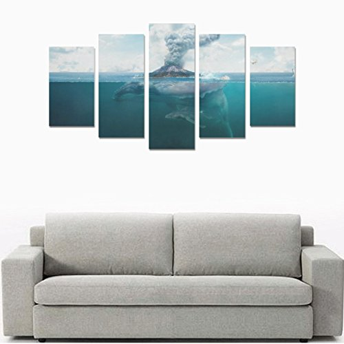 Unique Landscape Art Oil Painting Decoration ocean psychedelic island whale volcano Custom 100% Canvas Material Canvas Print Bedroom Wall Art Living Room Mural Decoration 5 Piece Canvas painting (No F by sentufuzhuang Canvas Printing