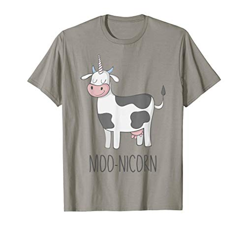 Cow Little Moo (Moonicorn Funny Cow Unicorn T Shirt for Kids and Adults)