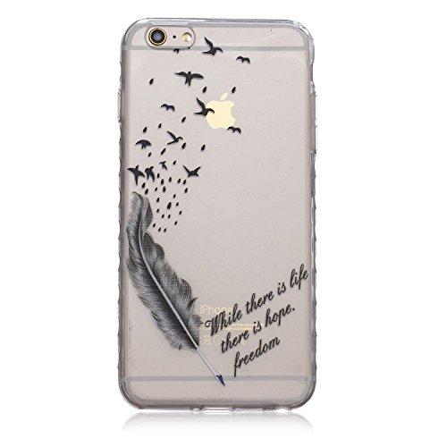 Meet de pour Apple iPhone 6 Plus / iphone 6S Plus Ultra Slim Flexible Transparent Soft Case / Housse / Portefeuille / Cover Étui / Housse étui - black Feather