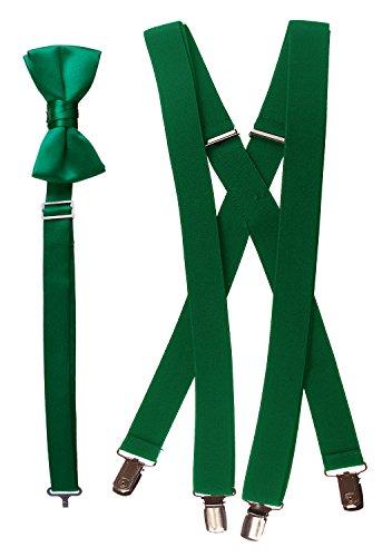 (Tuxgear Boys Bow Tie and Suspender Set Combo, Emerald Green, Boys 30 Inch (30