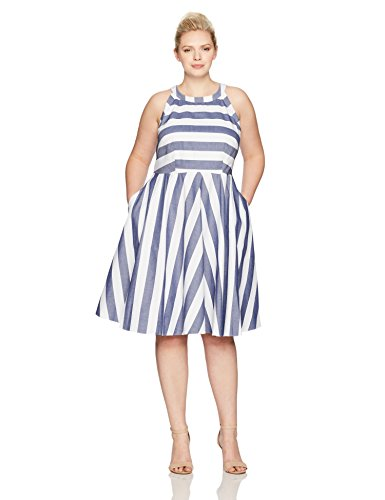 Eliza Stripe (Eliza J Women's Plus Size Stripe Fit and Flare Dress, Blue, 18W)