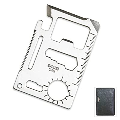 TLE Small Survival Tool Credit Card Size Multi Purpose Device with Pouch, Silver