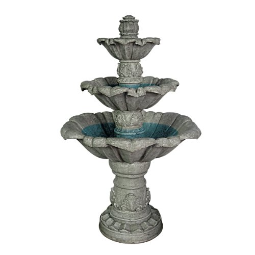 Water Fountain - 4 Foot Tall Sorrento Three Tier Garden Decor Fountain - Outdoor Water Feature by Design Toscano