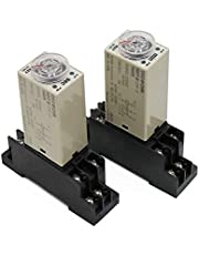Relay 1pcs H3Y-2 AC 220V Delay Timer Time Relay Switch 0-30 Minute/Seconds Adjustable 5A with Base Socket Rotary Knob DPDT