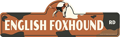 SignMission English Foxhound Street Sign | Indoor/Outdoor | Dog Lover Funny Home Décor for Garages, Living Rooms, Bedroom, Offices personalized gift | 18