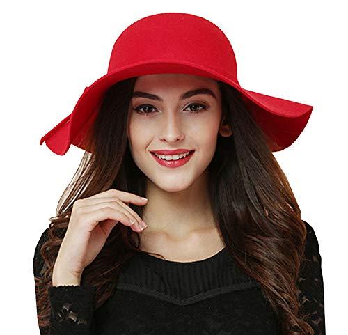 ASSQI Women's Foldable Wide Brim Beach Retro Fedora Floppy Wool Felt Hat Red for $<!--$17.98-->