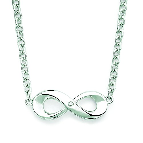 Diamond Accent Infinity Necklace (925 Sterling Silver Diamond Accent Infinity Fashion Pendant Necklace with 18