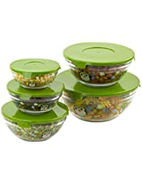 Win 5 Pc Nesting Glass Bowls - Multi Purpose Travel Food Containers - Lunch Bowl w/ Lids & Owl Design deliver