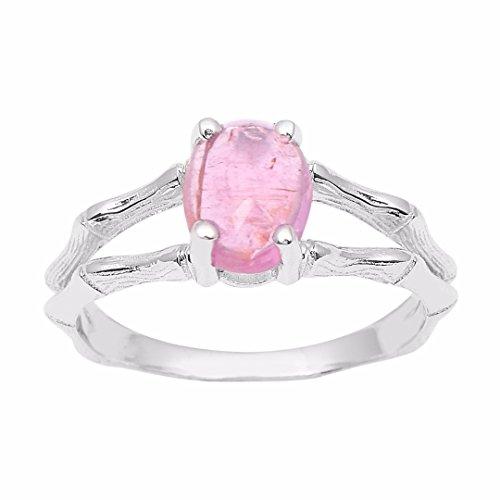 - Oval Cab Pink Tourmaline Gemstone 925 Sterling Silver Split Shank Women's Ring