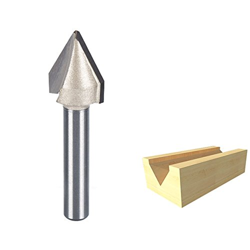 HUHAO 3D CNC Engraving V Groove Router Bit 60 Degree Woodworking Cutting Tool 1/4 Shank And 9/16 Cutting Dia