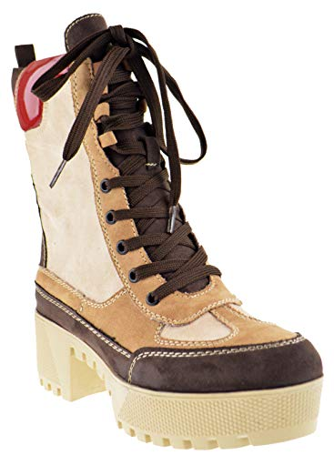 Bambo Powerful 06S Womens Chunky Heel Platform Lug Sole Military Combat Boots Camel 9
