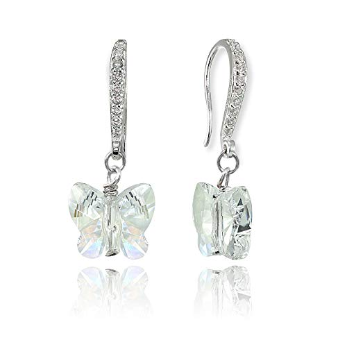 r Butterfly Dangle Earrings Made with Swarovski Crystals for Women Girls ()