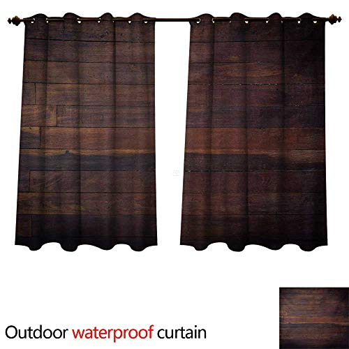 WilliamsDecor Chocolate Home Patio Outdoor Curtain Aged Weathered Dark Timber Oak Wooden Planks Floor Image Country Life Carpentry W108 x L72(274cm x 183cm)
