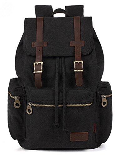 Aidonger Damen und Herren Vintage Stabiles Canvas und Leder Rucksack Retro Schulrucksack Backpack für Outdoor Sports Uni Reise (Schwarz)