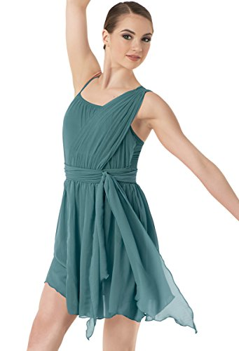 Balera Dress Girls Costume For Dance One Shoulder Tie Waist Dress With Briefs Juniper Child Large - Lyrical Dance Costumes For Competition For Kids