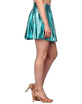8b00b3e61 HDE Women's Shiny Liquid Metallic Wet Look Flared Pleated Skater Skirt.  $8.00