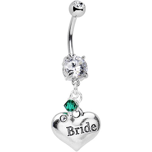 Body Candy Custom Wedding Steel Bride Personalized Dangle Belly Ring Created with Swarovski Crystals