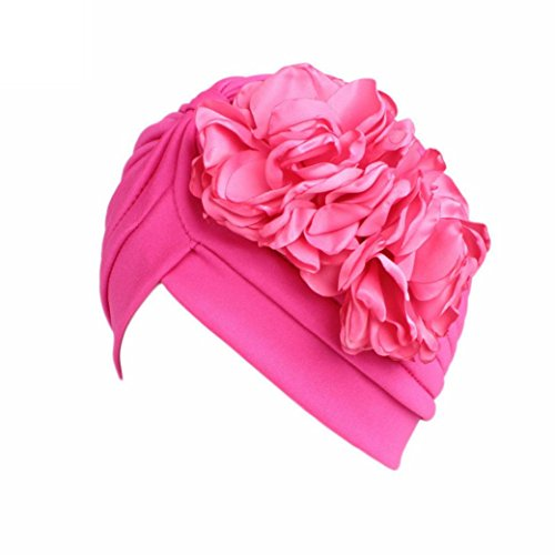 QingFan Women Muslim Solid Flowers Cancer Chemo Hat Turban Headbands Hair Loss Wrap Cap (Hot Pink)