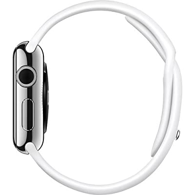 Apple Watch Series 1 38mm Stainless Steel Silver Case with White Sport Band Renewed