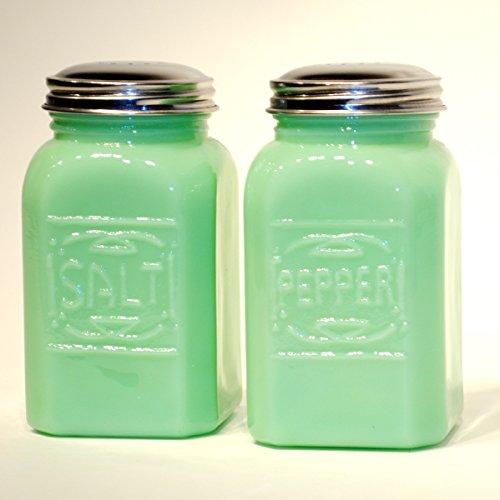 Etched Jade Glass (Jade Green Glass Salt & Pepper Shakers)
