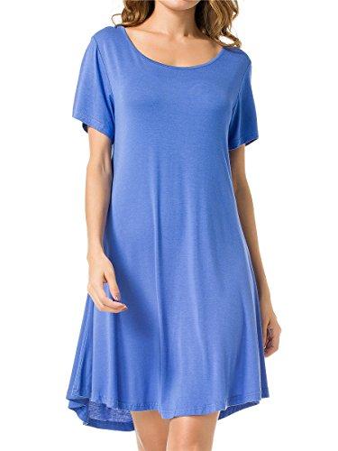 JollieLovin Women's Tunic Top Casual Short Sleeve Swing Loose T-Shirt Dress (Blue, M) by JollieLovin