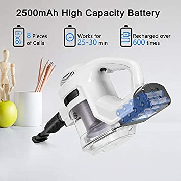 MOOSOO Cordless Vacuum Cleaner 2-in-1 Strong 15Kpa LED Headlights 8-cell battery Stick Vacuum