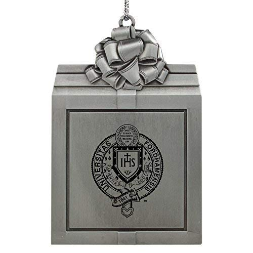 Fordham University-Pewter Christmas Holiday Present Ornament-Silver
