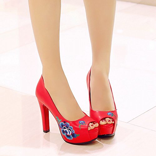 Mee Shoes Women's Charm Peep Toe Print High Heel Slip On Court Shoes Red VGofd