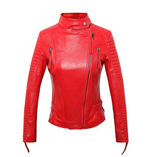 YHQYZZ 100% Real Coat Female Genuine Leather Jacket Short Slim Jackets For Women Outerwear Red XL by YHQYZZ