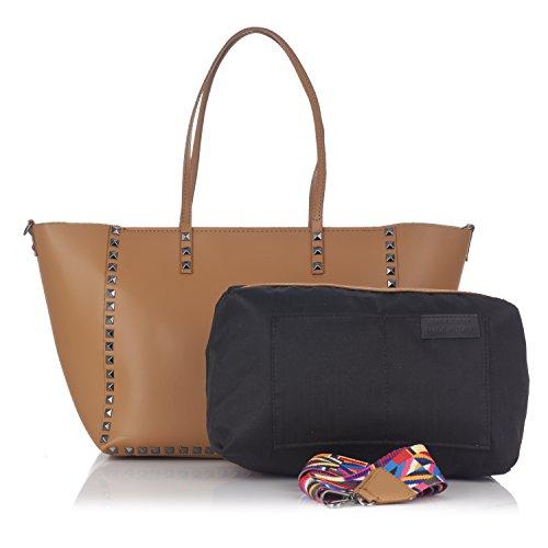 Leather interna in smontabile Moretti borchie Laura Borsa pelle borsa e con qv8nZxOw