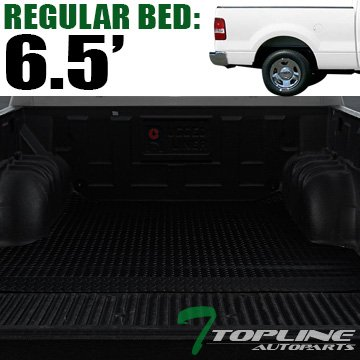 Topline Autopart Black Rubber Diamond Plate Truck Bed Floor Mat Liner For 04-14 Ford F150 ; 06-08 Lincoln Mark LT 6.5 Feet (78