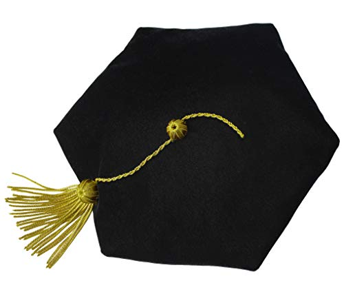 GraduationMall Graduation Doctoral Tam 6-Sided Black Velvet with Gold Bullion Tassel