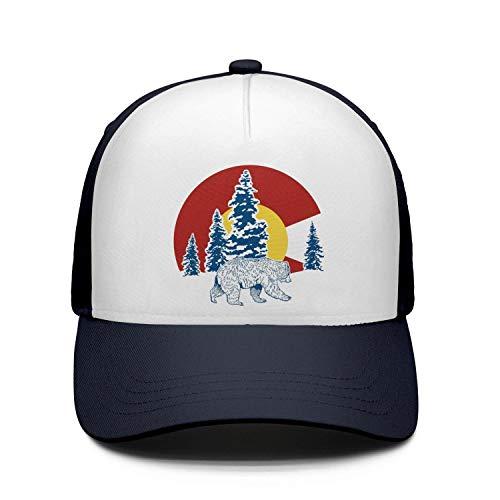 Colorado Flag Bear Unisex Navy-Blue Strapback Hat for Mens Womens Cute Caps - Jenny Golf Socks