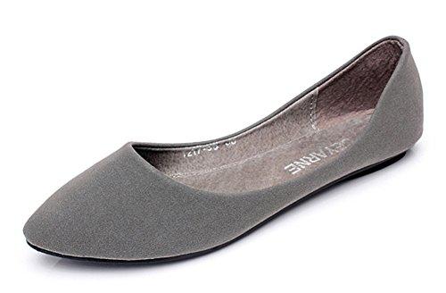 Cut Slipper Grau Damen Flach Nubukleder Toe Pointed Aisun Low BZfXqx1