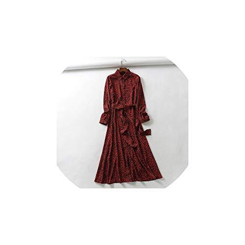 Vintage Leopard Print Sashes Long Shirt Dress Long Sleeve Animal Pattern Maxi Dresses,as picture1,M