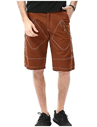ANDYOU-Men Shorts Fine Cotton Oversized Straight Leg Cargo Twill Pant Coffee 31 by ANDYOU-Men (Image #2)