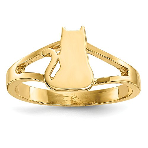 14k Yellow Gold Cat Band Ring Size 7.00 Animal Fine Jewelry Gifts For Women For ()