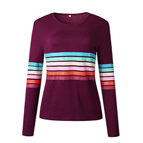 2019 Shusuen Clothing Women Multicolor Striped Long Sleeve Casual Sweatshirt Tops Blouse Wine