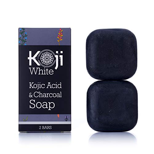 (Kojic Acid & Charcoal Black Soap (2.82 oz / 2 Bars) - Skin Brightening & Smoothing for Scar Removal, Dark Spots, Acne, Eczema, Blemishes)