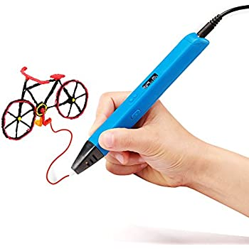 Soyan Professional 3D Pen with OLED Display Comes with ABS Filament Sample and Drawing Templates (Blue)