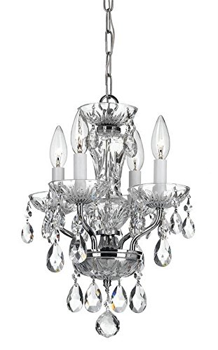 Crystorama 5534-CH-CL-MWP Crystal Four Light Mini Chandelier from Traditional Crystal collection in Chrome, Pol. Nckl.finish, 11.00 inches For Sale