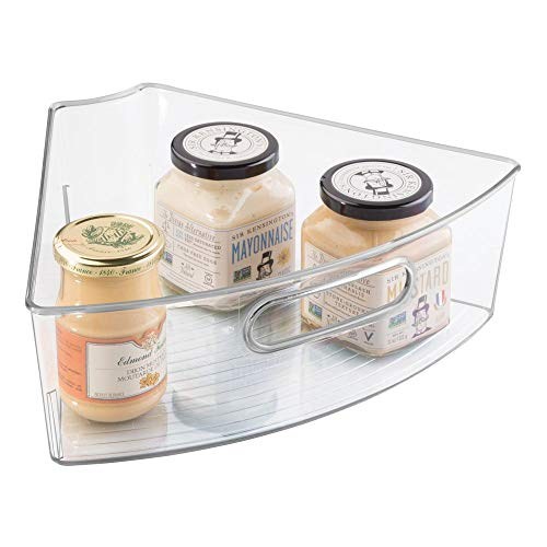 mDesign Plastic Kitchen Cabinet Lazy Susan Storage Organizer Bin with Handle - Medium Pie-Shaped 1/6 Wedge, 4 Deep Container - Organize Snacks, Food Packets, Pasta, Condiment Jars, Coffee - Clear