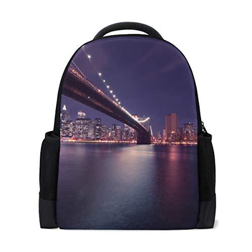 MONTOJ New York City Bridge Polyester Travel Backpack Laptop Backpack